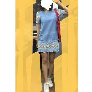 正韓蕾絲透膚氣質款洋裝連衣裙可愛水藍短袖藍色天空藍一件式保證韓貨