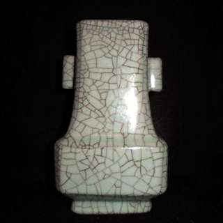 宜興青瓷 蔣松林 絕版收藏珍品 哥窯大開片四方貫耳瓶