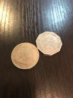 1960 $1 & 1967 $5 壹元 伍元 古錢