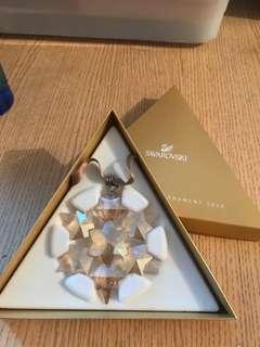Swarovski 2010 scs 金色水晶聖誕雪花 絕版 2000