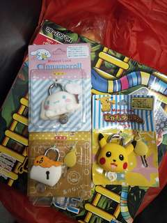Cinnamoroll & Gudetama & Pikachu keylock