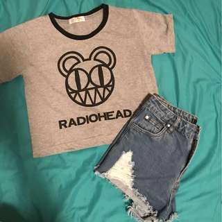 Denim short and crop top