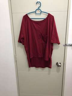 Wine Red Oversize Top