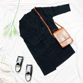 🚚 簡單百搭黑色雪紡長版罩衫外套