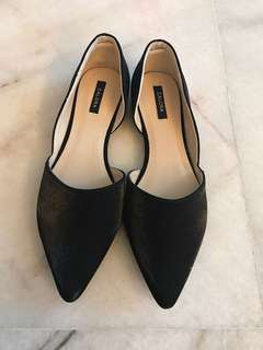 Black satin pointed toe flats