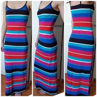 Derek Heart Spaghetti Strappy Striped Bodycon Maxi Dress ✔