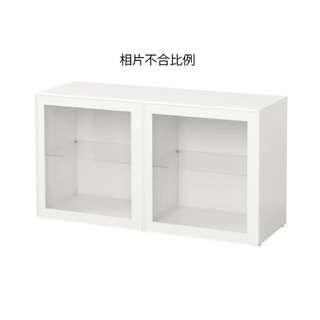二手傢俬 IKEA 宜家 BESTÅ 白色 層架組合連玻璃門櫃 (連掛牆用導軌) 9成半新