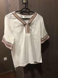 tribal boho white top