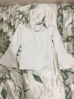 Pull & Bear white off shoulder top with bell sleeves