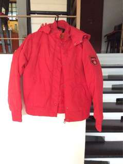 Red Autumn Jacket with hood with 2 side pockets inside