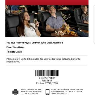 One Voucher For Events Cinema,gold Class $38 Dollars New
