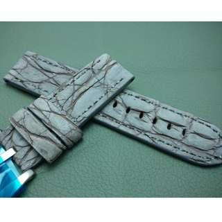 PANERAI 代用 24mm錶帶 大鱷魚皮 磨沙面錶帶 (ref:2424鱷魚暗灰)