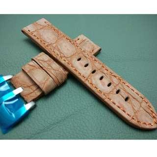 PANERAI 代用 24mm錶帶 大鱷魚皮 磨沙面錶帶 (ref:2424鱷魚橙啡)