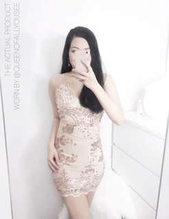 Yoins rosegold sequin champagne nude lace dress • evening prom formal dress