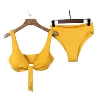 Louise Front Tie Two Piece Bikini in Mustard