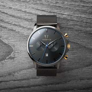 歐美時尚個性石英黑色網紋不銹鋼帶手錶