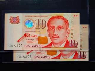 Identical Nos 🇸🇬$10 Portrait Paper banknote sign PM Lee Hsien Loong