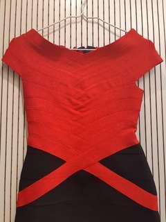 紅黑短裙禮服 90% New