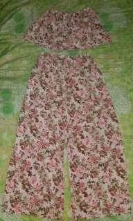 Floral Off-Shoulder Crop Top with Squarepants
