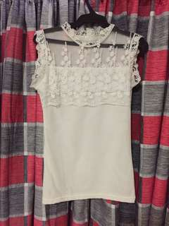 See through sleeveless lace top