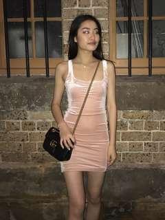 Meshki velvet blush pink dress