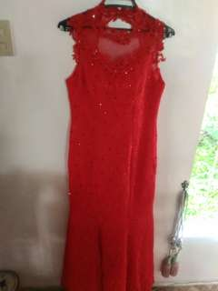 Red gown with lace for rent