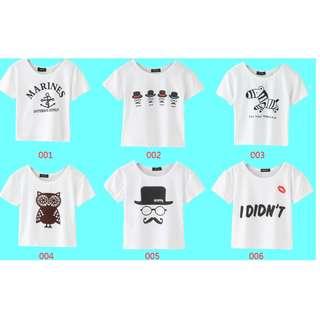 (89元專區)短版短袖可愛白色印花T恤