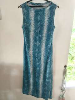 Blue snakeskin long gown