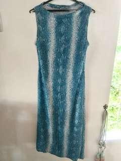 Blue snakeskin long gown