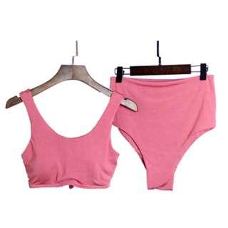 Dominique Back Tie Two Piece Bikini in Salmon Pink