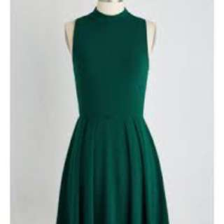 Reduced! Modcloth Vintage Retro Style Cute High Neck Turtle Neck Forest Green Dress