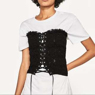 Zara black lace cotton corset/smocked tube top