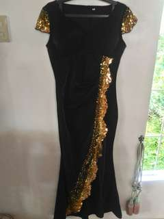 Black good long gown for rent
