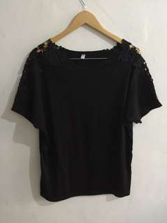 Black Blouse with Lace accent