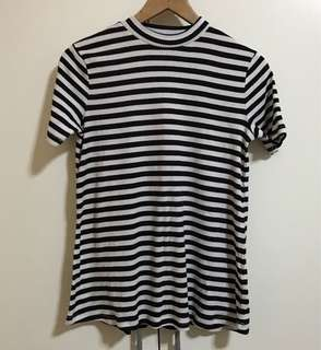 Highneck Ripped Striped Top