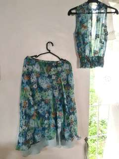 Floral butterfly terno long gown / dress