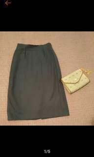 🚚 古著 灰藍色 毛料 小開衩 長裙 鉛筆裙 古著長裙