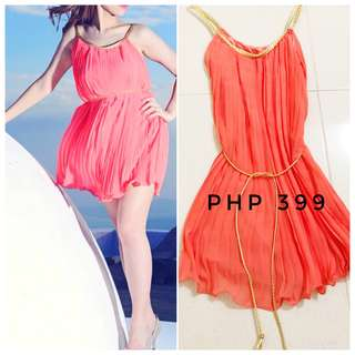 Short Coral Pleated Dress