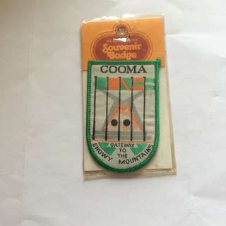 "Cooma Souvenir Cloth Badge, 3"" x 2""."