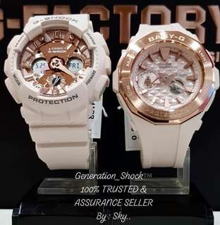COUPLE💝PAIR SET in LATEST CASIO BABYG GSHOCK DIVER WATCH : 1-YEAR OFFICIAL WARRANTY: 100% ORIGINALLY AUTHENTIC BABY-G-SHOCK Resistant in HAZEL CARAMEL with Rose Gold Best For Most Rough Users: BGA-225CP & GMA-120MF / GMAS120MF / BGA225CP