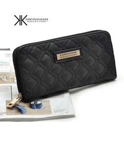Kardashian Kollection Quilted Black Leather Wallet
