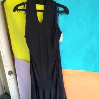 Black backless silk midi dress