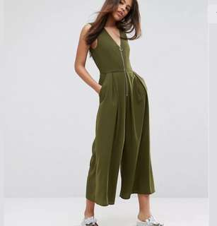 BNWT ASOS Tall sz 16 green khaki ring pull long jumpsuit playsuit plus size cute