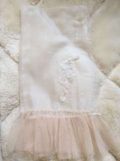 Lace in ballet shoes with cashmere scarf