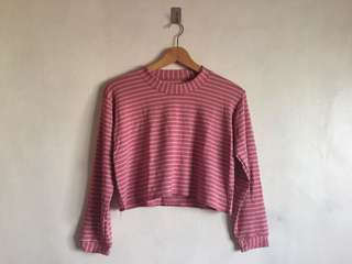 Pink White Stripes Cropped Pullover Sweater