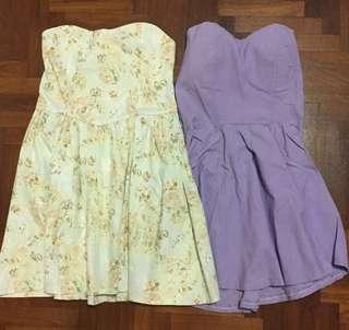 LAST 1 LEFT (MINT GREEN FLORAL) BN Bustier Tube Flare Dress