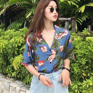 [T919] Tropical Floral Resort Shirt