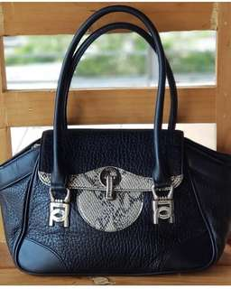 Authentic Delicato France Black with Python Trim Small to Medium Tote with flap and metal closure
