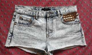 Forever 21 Acid-washed Denim Shorts with Studs and Patches