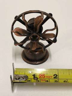 Bronze miniature antique/ vintage fan with pencil sharpener display set